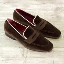 Handmade brown color men s suede shoes  men s loafer slip on moccasin shoes thumb200