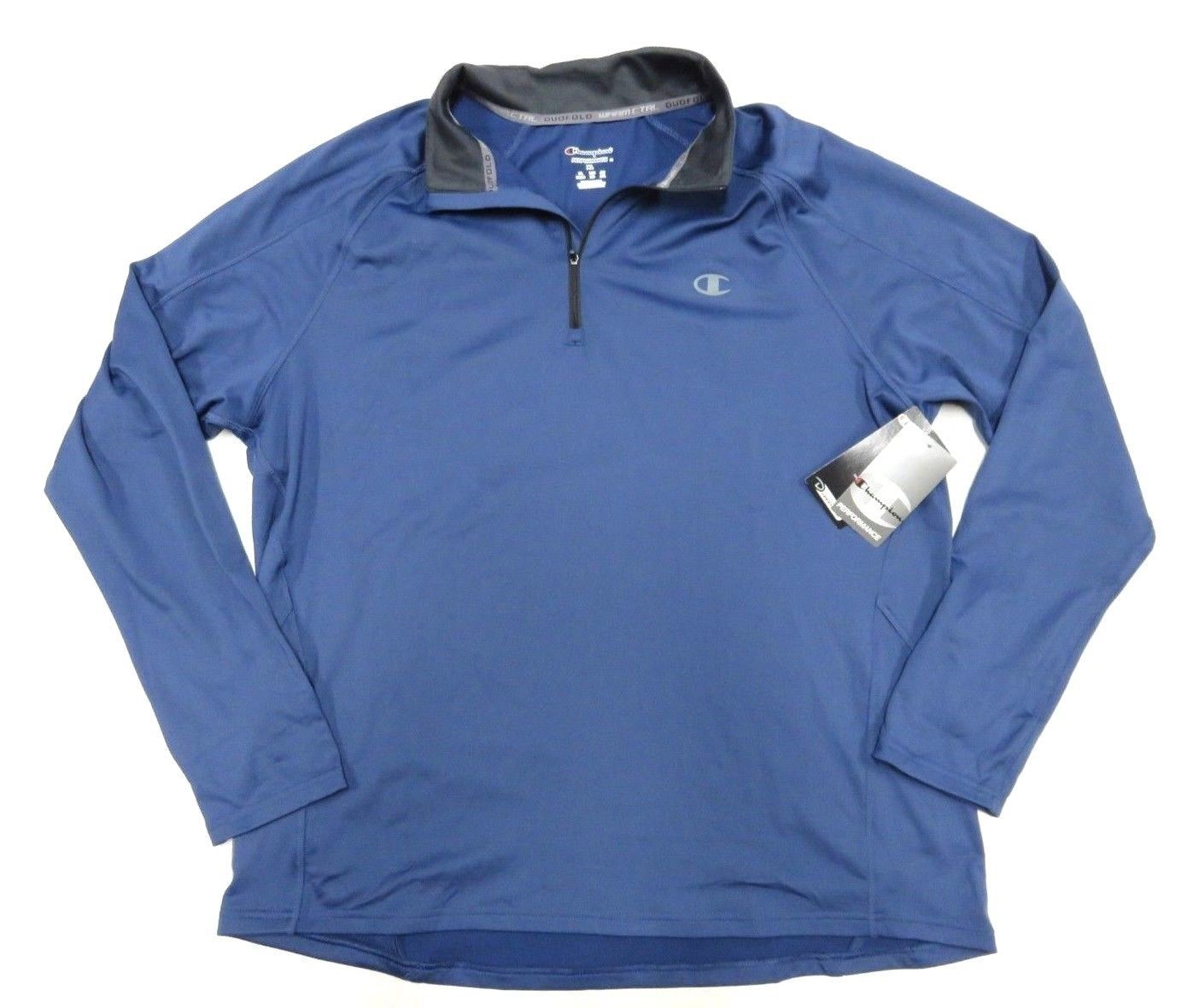 Primary image for NWT Champion Performance Outerwear Blue 1/4 Zip Up Pullover Jacket Adult Size XL