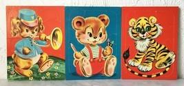 Vintage Whitman 1950s Puppy Bear Tiger - 3 Frame Tray Preschool Puzzles  - $47.45