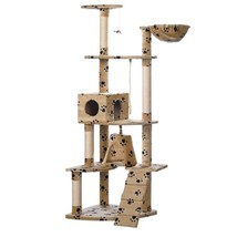 "Cat Tree 75"" Beige w/ Paw Prints Plush Scratching Post Kitten Gym Play 2... - £47.93 GBP"