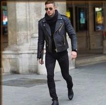 Mane Black motorcycle Fashion Leather jacket, Men biker style fashion ja... - $149.99+