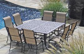 Sling Patio Dining Set 9 pc Cast Aluminum Furniture Outdoor Bronze image 1