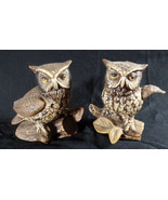 Porcelain Owl Figurines by Homco Home Interiors Pair of VTG Brown Barn O... - $19.80