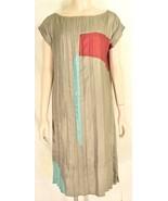 Babette SF dress SZ S gray taupe color block cap dolman sleeves crinkle USA - $79.19