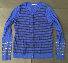 Gap Striped Sequin Royal Blue Cardigan Sweater Medium Wool Blend Crew Neck - $14.84
