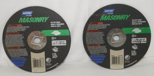 Norton 89088 Two Masonry Cut Off Wheels Type 1 8730 Max RPM 7 Inch