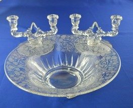2 New Martinsville Florentine Double Light Candle Holders & Center Piece... - $44.55