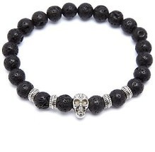 Black Lava Stone Stretch Beaded Bracelet With Nickel Skull And Nickel Ac... - $23.90