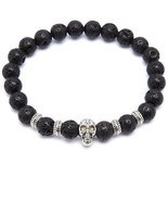 Black Lava Stone Stretch Beaded Bracelet With Nickel Skull And Nickel Ac... - $31.56 CAD