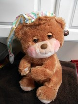 """Fisher Price Quaker Oats Plush Bear With Sleep Hat Cap 12"""" Tall - $15.40"""