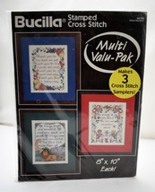 "Bucilla Set of 3 Grace Samplers 8"" x 10"" Each Stamped Cross Stitch Kit-N... - $12.30"