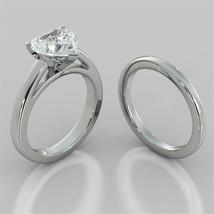 2.00 Ct Heart Shape Diamond Engagement Ring 14K White Gold Wedding Band ... - $609.61