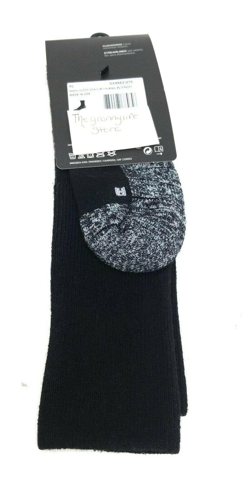 Nike Socks Crew Mens XL 12-15 Black Dri Fit Cushioned Athletic Performance Sport image 2
