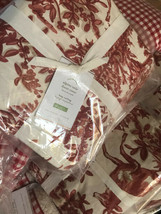 Pottery Barn Alpine Toile Duvet Cover Red King Christmas Holiday Deer To... - $139.68