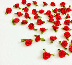 Bright Red Rose Buds with Leaf Loops (20/ 50 pcs), Mini Satin Red Rose, ... - $7.50