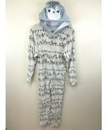 Kensie Girl L 14 Minky Soft Llama One Piece Hooded Pajamas Faux Fur - $16.99