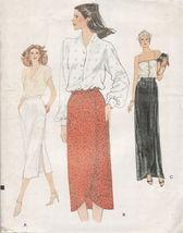 Vtg Vogue Side Slit Straight Or Front Wrap Skirt Tulip Hem Sew Pattern Size 16 - $11.99