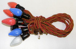 Vintage C-9 Christmas Lights 9 Swirl bulbs Cloth Cord - $29.99
