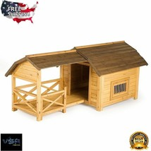 Barn House For Large Dogs Outdoor Pet Kennel Wooden Insulated Raised Flo... - $486.08