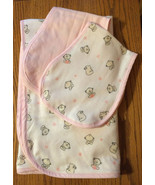 Girls Baby Bear Blanket and 2 Burp Cloth Set - $40.00