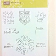 Stampin' Up! So Very Happy Clear Mount Rubber Stamp Owl Birthday Flower ... - $7.80