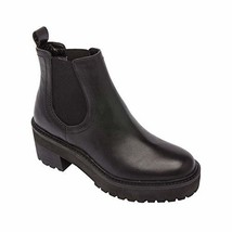 Tate - Leather Lug Sole Chelsea Biker Bootie Built Up Hiker Sole Boot Bl... - $198.96