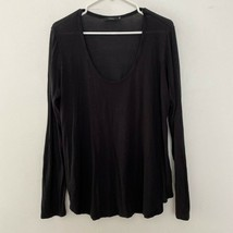 Talula Aritzia Scoop Neck Long Sleeve Pullover Tunic Shirt Top Black L L... - $21.09