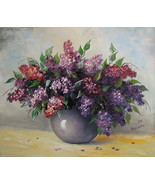 Lilacs Original Oil Painting Stile Life Bouquet Purple Flowers Palette Knife Art - $280.00