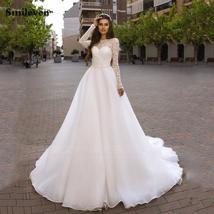 Sweetheart Lace Cut Illusion Long Sleeve Bridal Backless Organza A-Line Wedding  image 3