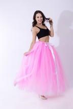 Women RAINBOW Maxi Skirt Drawstring Waist Mint Gray Maxi Tulle Skirt Petticoats image 3