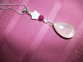 Artisan  PINK ROSE QUARTZ  STERLING SILVER   PENDANT w Chain+ EARRINGS+... - $37.62