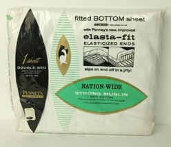 Vintage NOS Penney's Nation-Wide Muslin Combed Cotton White Double Fitte... - $23.76