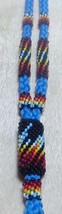 Native American Kiowa Cut Glass Beaded Landyard Black Blue Fire Hand Made - $39.99