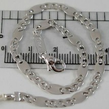 SOLID 18K WHITE GOLD BRACELET WITH FLAT ALTERNATE 4 MM OVAL LINK, MADE I... - $494.00