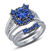 Designer Bridal Blue Sapphire Ring Set 14k White Gold Finish 925 Sterling Silver - $92.99