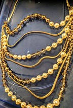 Necklace collar set Pearls,Gold Beads,Crystal Clear Beads layers. - $14.04