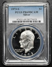 1973S San Francisco Eisenhower Silver Dollar Proof Coin PCGS PR69DCAM SKU C101