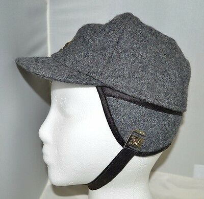 Vintage Grey Gray Wool Bomber Hat Ear Chin Cover Strap Junior Medium