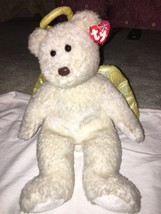 "2000 Ty Beanie Buddy Halo II Large 14"" Shimmer Angel Bear Gold Wings/Hal... - $11.87"
