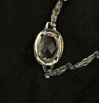 Antique Vtg Art Deco 12k GF Gold Filled Fancy Link Chain Purple Stone Bracelet image 5