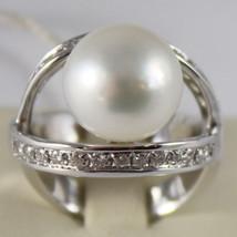 AMAZING SOLID 18K WHITE GOLD RING DIAMOND AND AUSTRALIAN PEARL DIAMETER ... - $4,209.25