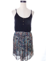 Black and Aztec Print Chiffon Skirting Dress Lush Medium M - $15.00