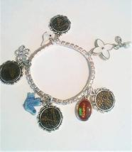 53!! Stretch Rhinestone Bracelet fashioned with Louis Vuitton monogram upcycle,  - $53.00