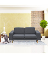 Cloud Mountain Fabric Loveseat Living Room Sofa with Cushion Dark Gray - $209.99