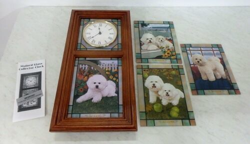 Danbury Mint Bichon Frise Puppy Dog Stained Glass Clock Michele Amatrula Season