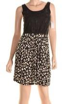 Kensie Black Contrast Lace Top Cheetah Print Skirt Sleeveless Dress S image 2