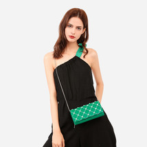 Charles & Keith Embellished Quilted Wallet Chain Clutch Small Shoulder Bag Green image 3