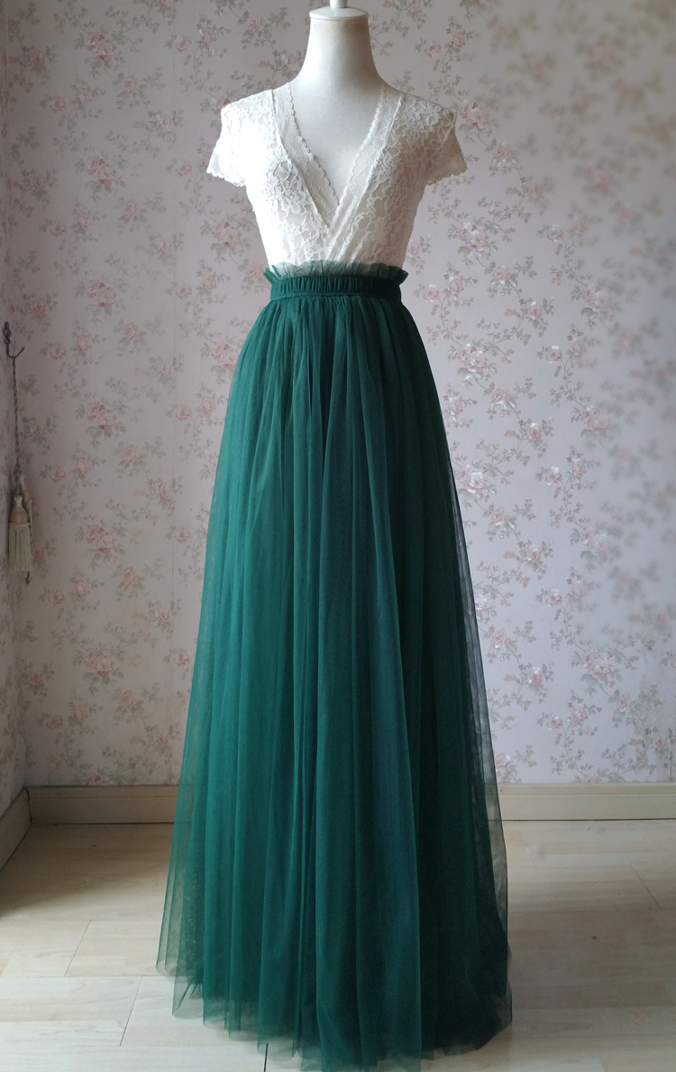 Green wedding tulle skirt 58 elastic 2