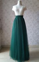 DARK GREEN High Waist Tulle Maxi Skirt Green Wedding Bridesmaid Tulle Maxi Skirt image 2