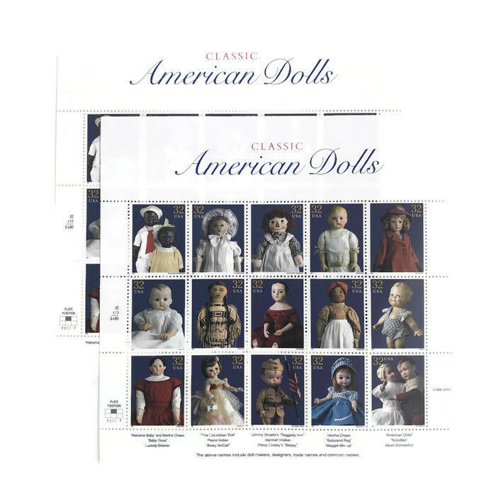 1997 American Dolls Sheet of 15 US Postage Stamps Scott's #s 3151 Two Sheets